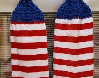 Handmade crochet top kitchen had towels/crochet top towel/hanging towel/stars and stripes/red white and blue/hanging kitchen towel/crocheted