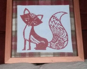 Fox cross stitch picture *HANDMADE TO ORDER*