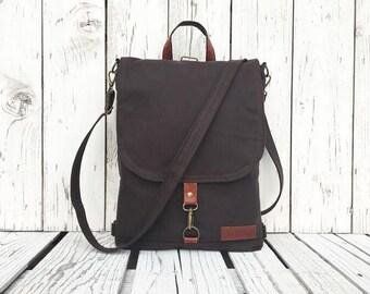 "Minimalist Waxed Canvas Backpack, Solid Brown Water Repellent Rucksack, Solid Functional Crossbody Bag, 11"" Macbook Backpack"