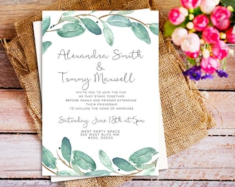 eucalyptus wedding invitation, Greenery digital printable wedding invitation, Eucalyptus Wedding party invite, Wedding Watercolor invitation