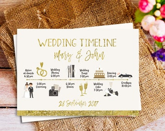 Gold wedding timeline, Wedding Schedule of Events, Gold Wedding Itinerary, Gold Wedding program, Icon Timeline, Custom wedding Timeline