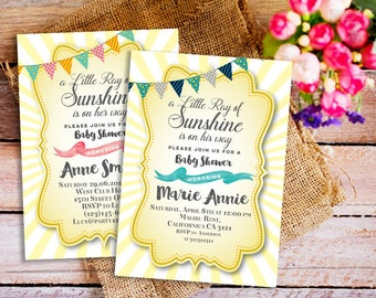 A Little Ray of Sunshine Baby Shower Invitation, Little Ray of Sunshine Invites, Sunshine invitations, Sunshine party invitations, Yellow