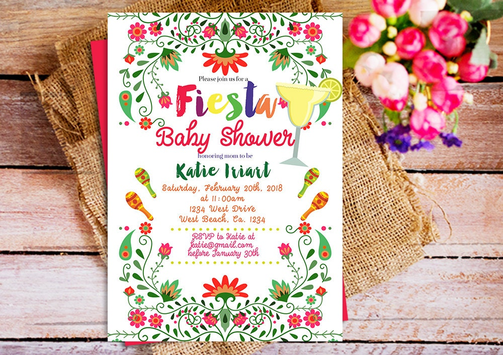 Mexican baby shower invitation mexican theme baby shower - Fiesta baby shower ...