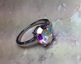 Sterling Silver Ring with swarovski crystal. Mothers day gift, Sterling silver Crystal Ring