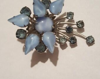Vintage Blue Rhinestone Pin Brooch