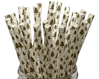 Gold Metallic Paper Straws,  Paper Straws, Christmas Tree Paper Straws, Christmas Straws, Christmas Paper Straws, Holiday Paper Straws,  10