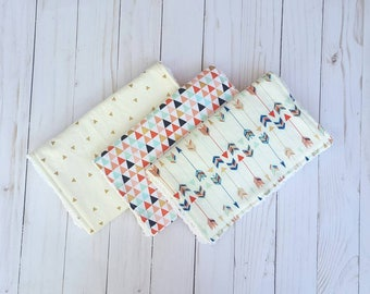 Gender neautral baby Burp cloth set- burpcloths, baby boy, baby girl, unisex baby gift, baby shower gift, burpie, burp rag, modern baby gift