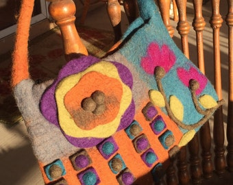 Felted purse, vintage felted wool purse, felted flowers, handmade purse, boho purse