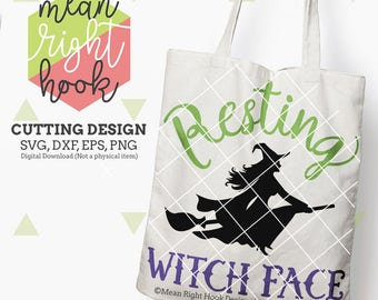 Resting Witch Face svg, Halloween Svg, Witch Svg, Fall svg, Autumn svg, INSTANT DOWNLOAD files for cutting machines - svg, png, dxf, eps