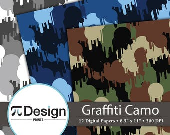 """Military Graffiti Camouflage 8.5""""x11"""" Digital Paper 12 Pack   Paint Splatter Camoflauge Printable Pattern   Woodland Camo Instant Download"""