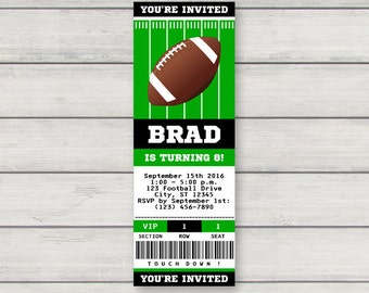 Football Invitation - Printable Birthday Party Invitation - Football Ticket Invitation - Instant Download - Editable Text