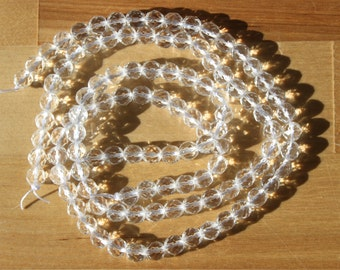 Natural Clear Quartz 6.5mm Faceted Round Beads