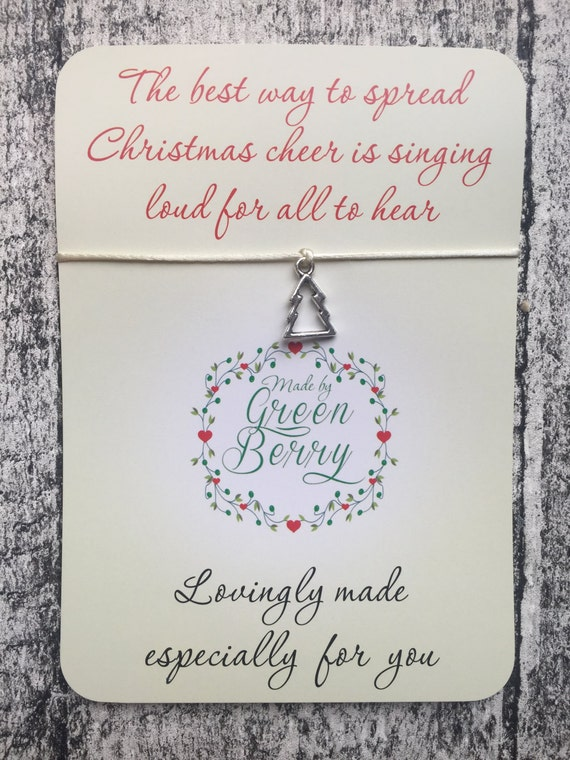 """Christmas Tree Charm Cream String Bracelet on """"The best way to spread Christmas cheer"""" quote card madebygreenberry wish bracelet elf"""