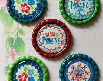 Moana Inspired - Disney Inspired - I Want to be Moana -  Finished Bottle Caps - Hand Painted Bottle Cap - Custom Color Bottle Cap