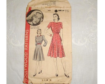 "1940's Hollywood Patterns, Lucille Fairbanks, Vintage dress pattern. Plus Size 20, Bust 38"", Hips 41"", sleave has holes, contents intact"