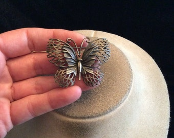Vintage Antiqued Silvertone Butterfly Pin