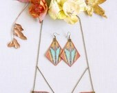 Art deco asymmetric jewellery setcopper jewelleryfabric jewellery setgeometric earringsgifts for her.JS4 116