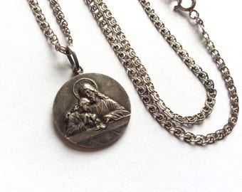 Christian amulet medallion - the icon sterling Silver with chain