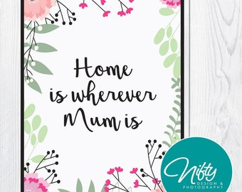 Home Is Wherever Mum Is - Mother's Day Print