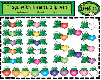 Frogs with Hearts Clip Art - Digital Clipart - Instant Download - Frog Clipart