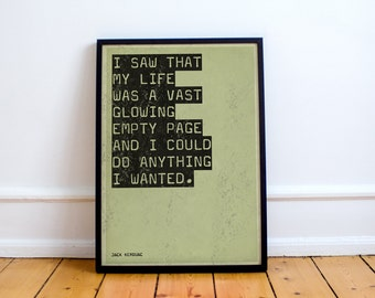 "Jack Kerouac ""The Dharma Bums"" Quote Print  Poster, beat generation, jazz, big sur, Allen Ginsberg,"
