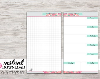 Planner Printable - Week on 1 Page with Notes Page - Undated - Filofax Personal - Kikki K Medium - 3.75 x 6.75 in - Design: Flirty Girl