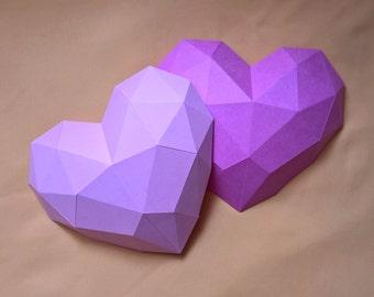 Papercraft heart - printable DIY template