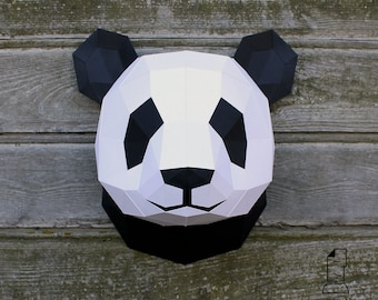 Papercraft panda head - printable digital DIY template