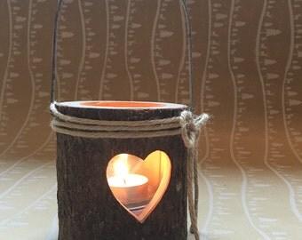 Woodland Heart Bark Candle Teelight Holders