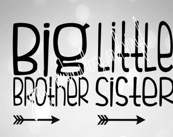 big brother, little sister svg dxf