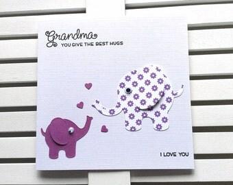 Grandma Birthday Card,  Card for Grandma, Special Grandma Card, Grandma Elephant, Cute Grandma, Mother's Day Grandma