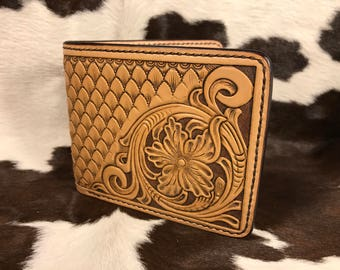 Floral Tooled & Geomtric Design Bifold Leather Wallet