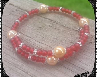 Red and Tan Wrap Bracelet
