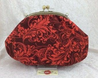 The Grace Orange Swirls frame handbag purse clutch bag fabric handmade in England incl detachable chain
