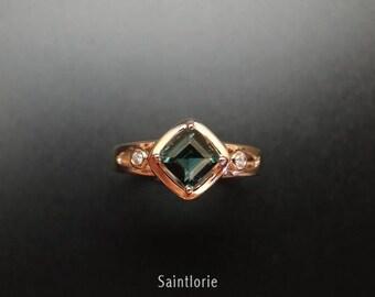 1.5 Carat Blue Tourmaline Engagement Ring