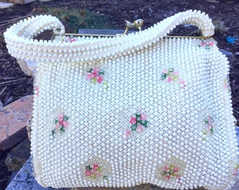 Vintage White Corde Bead Purse with Pink Flowers - Beaded Evening Bag - Vintage White Clutch  - Wedding Purse