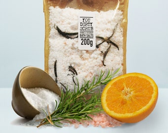 Orange & Rosemary Vegan Bath Salts - 100% Natural, Cruelty Free, Paraben Free, Handmade, GMO Free