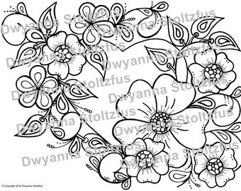 Heart with Flowers Coloring Page JPG