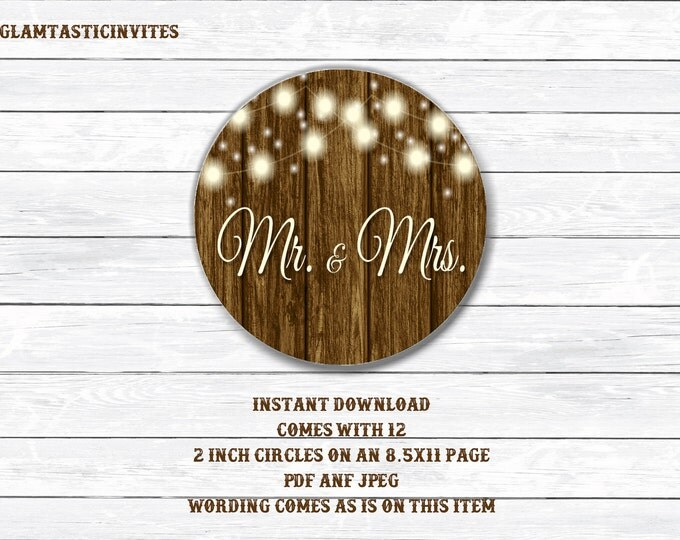 Rustic Wedding Tags, Mr and Mrs Tags, Wedding Tags, Wedding Cupcake Toppers, Shower Tags, Shower Sticker, Bridal Shower Tags, Bridal Shower