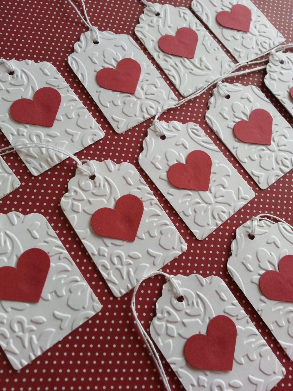 Wedding Heart Gift Tags : Heart gift tags Heart tags White embossed gift tags Wedding