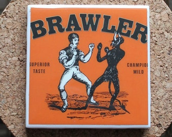 Yards Brawler Craft Beer Coaster from Upcycled 6 pack holders. Beer Coasters. Beer Gifts.