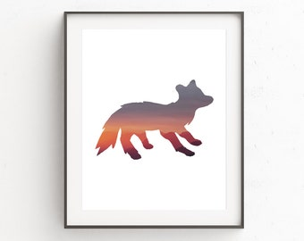 Fox Wall Art Print, Nursery Gallery Wall, Fox Animal Wall Art, Fox Print, Above Crib Decor, Art Above Crib, Affiche, Nursery Wall Art Fox