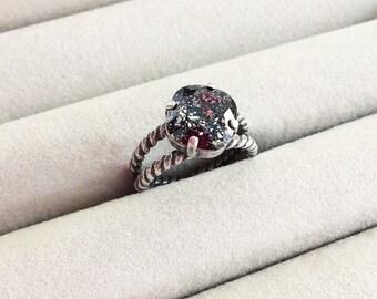 Swarovski Crystal Ring in Black Patina