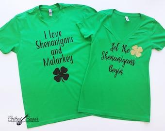Men's I love Shenanigans and Malarkey Shirt, St. Patrick's Day Shirt, St. Paddy's Day Shirts