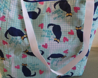 Live Your Life In The Meow, Hearts & Kitties Reusable Farmers Market / Grocery / Shopping Bag / Tote