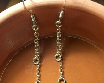One pair sterling silver double dangle earring findings. Double chain