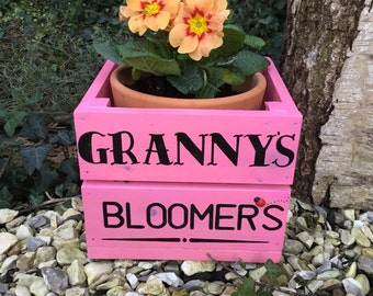 Small personalised apple crate style planter- flower pot- wooden planter- garden planter- rustic- garden decor- wall art- wooden sign-