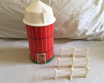 Vintage Fisher Price Little People Barn Silo with Fence Parts