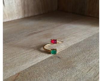 Adjustable double ring / Green Jade / Red Jade