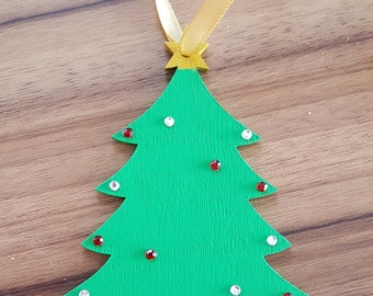 Rustic Wooden Christmas Tree Hanging Ornament, Personalised Hanging Decoration, Hanging Decoration, Christmas Decoration, Tree Ornament